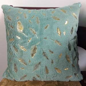 Teal Blue Gold Feather Stamped Pillow w/ Insert